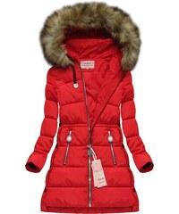 The SHE Červená prešívaná dámska bunda s kožušinou 3f2821c4e3e