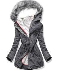MODOVO Női téli kabát kapucnival B-73 grafitszürke e80801a793