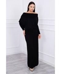 MladaModa Dlhé šaty s lodičkovým výstrihom čierne f77d9d55fd1