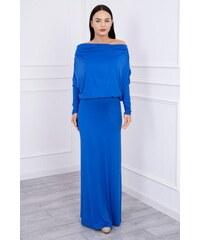 4fede33064a MladaModa Dlhé šaty s lodičkovým výstrihom farba kráľovská modrá