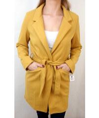 Made in Italy Dámský kabát hořčicový na zavázání 96e1bd29d4