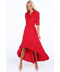 Fasardi Červené elegantné dámske šaty s výstrihom v tvare písmena V 514212efe21