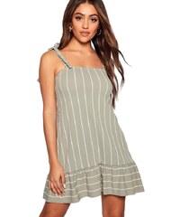 BOOHOO Proužkové mini šaty s peplum lemem cb80fd7c6c