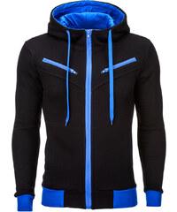 Ombre Clothing Pánská mikina s kapucí a zipem Amigo černo modrá d6ff171cbd