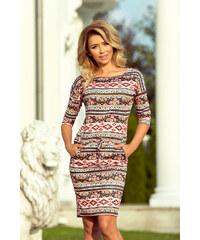 36a707d79df numoco Dámské sportovní šaty s barevnými pruhy s folklórním vzorem 13-94