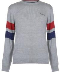 Pierre Cardin Striped Sleeve Crew Neck Knit Mens Grey Marl d34113a38f