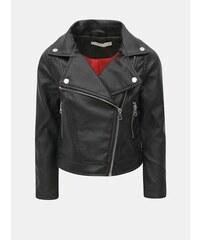 Čierna dievčenská koženková bunda s výšivkou a potlačou na chrbte Name it  Nafur 1b042f933ce