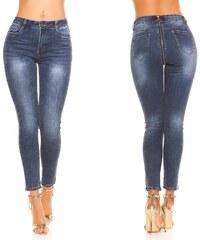 9477faac12b KouCla Dámské skinny džíny se zipem vzadu modré