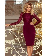 0003796f2e60 NUMOCO Elegantné bordó šaty s dlhým rukávom 216-3