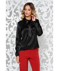 f1452199d3 Fekete StarShinerS bő szabás elegáns női blúz szatén anyagból
