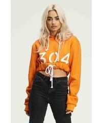 Dámska oranžová crop mikina s kapucňou 304 Clothing f358b14ac9c