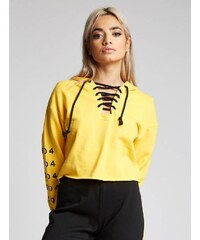 eaa9a67a09f5 Dámska žltá crop top mikina s kapucňou 304 Clothing