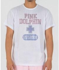 Pánske biele tričko s krátkym rukávom PINK+DOLPHIN PLUS RHINESTONE eea08ccbd28
