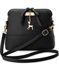 World-Style.cz Dámská kabelka kufřík s přívěskem ve tvaru srnky - černá 6bb392dd6b9