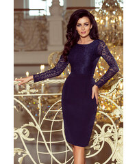c9f66d5f476f NUMOCO Elegantné tmavo modré šaty s dlhým rukávom 216-1