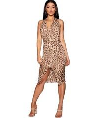 4aa48ad42a2 BOOHOO Zavinovací leopardí midi šaty
