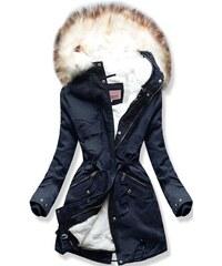 Dámska zimná bunda s kapucňou W166 tmavo modrá baa9777b5b6