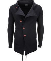 Ombre Clothing Prodloužená pánská mikina s vyšším límcem Matthew černá 2becb62572