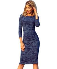Numoco Svetrové šaty se vzorem keřů ve stylu modré džínoviny - tmavě modré c4e886311f