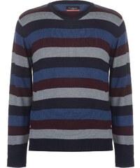 9935d98214e Pierre Cardin Striped V Neck Knit pánské Navy Denim Burg