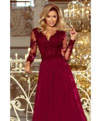 Numoco Společenské dlouhé šaty s krajkovým výstřihem a dlouhými rukávy -  vínové 4d0e5f6dbf3
