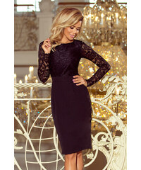 NUMOCO Černé šaty EMMA s krajkovými rukávy 216-2 8b7d66a0e3