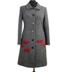 MODENA STYL Dámsky kabát s kvetmi model Magdalena (vlnený) d5638720ba3