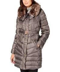 Vince Camuto luxusní zimní polodlouhá bunda s kapucí a opaskem clay (S 36) 638f4935fc