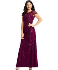 Adrianna Papell luxusní společenské dlouhé vínové šaty vyšívané korálky  (S 36) 3b43e6ee515