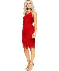 962be35da6d8 Little Mistress červené společenské sexy šaty zdobené korálky