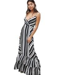 Boohoo dlouhé letní pruhované černo-bílé šaty na ramínka (L 40) 71e4f9bf56