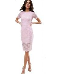 Světle růžové krajkové přiléhavé polodlouhé šaty. 1 340 Kč b34a8e6276