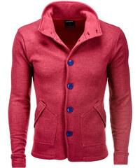 Ombre Clothing Pánská mikina na knoflíky Carmelo s límcem červená 550c83f1e96