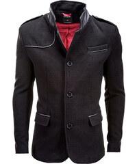 Ombre Clothing Elegantní pánský černý kabát Augustino s vysokým límcem 54318ccfa06