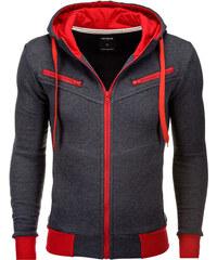 Ombre Clothing Pánská mikina s kapucí a zipem Amigo grafitovo-červená 4435e6b2f8