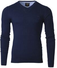 Ombre Clothing Pánský svetr s výstřihem do V Verel tmavě modrý 90f2dc4305