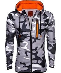 Ombre Clothing Férfi cipzáras pulóver kapucnival Ember szürke-terepmintás b22cd1ab15