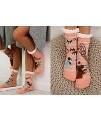 BELER Dámské protiskluzové ponožky s beránkem Livvy světle růžové 8bde53b257