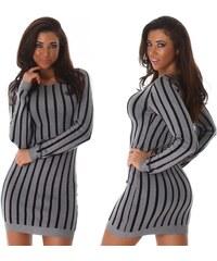 Jela London Pletené šaty s proužky Olive šedé c7b613aa06