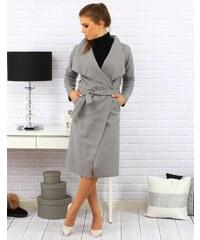 Brand Dámsky kabát CLAVEL s viazaním v páse (ny0111) - sivý ny0111 2e1c980cf0d