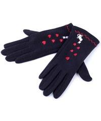 Dámské Modré úpletové rukavice kočka 0dbe6cc3a58