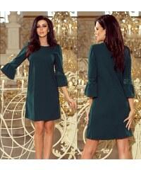 b1a1e6fffa2 Numoco Elegantní šaty s krajkou na rukávech Libby tmavě zelené