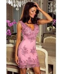 Růžové elegantní šaty s krajkou - Glami.cz 31f805802b