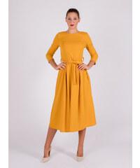 RALA ITALIA Horčicové šaty s viazaním v páse 03bb4b57a30