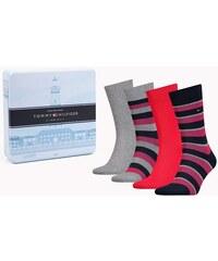 c0f41499e6 Tommy Hilfiger ajándék 4 darabos zokni csíkos piros / szürke