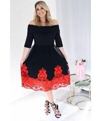 ZAZZA Elegantné šaty s červenou výšivkou na sukni 1a0748f908e