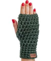 Olivově zelené ručně háčkované návleky DOKE Dina 48c0e466c3