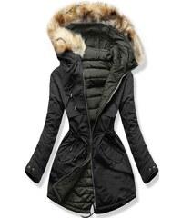 MODOVO Dámska zimná bunda s kapucňou W212 čierna-khaki c39fd6c21f4