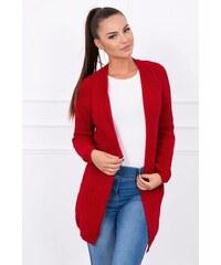 316f44aef37f MladaModa Háčkovaný sveter model S2094 červený