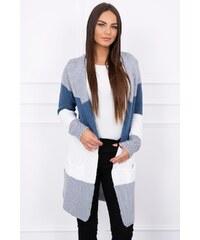 e86000144a07 MladaModa Trojfarebný kardigánový sveter s pruhmi šedý+tmavomodrý